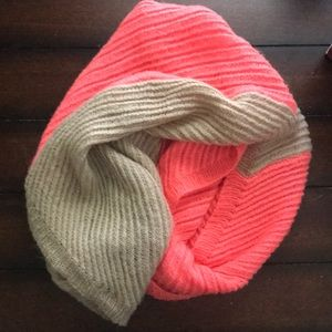 Hot pink & beige knit infinity scarf from ALDO